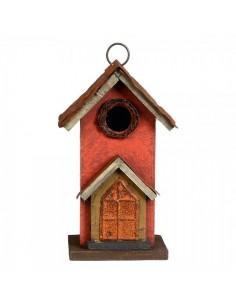 Casita para pájaros con techo de metal para escaparates en verano de tiendas o comercios