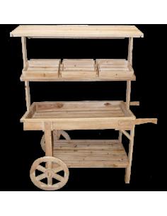Carrito de madera de venta ambulante para escaparates en verano de tiendas o comercios