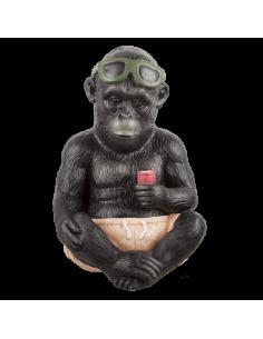 Gorila sentado con bañador gafas de sol y cono de helado para la decorar espacios y escaparates de verano con mamíferos y aves