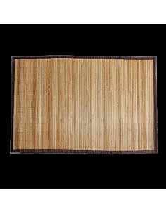 Estera de bambú con borde de tela natural marrón Ø60x90cm