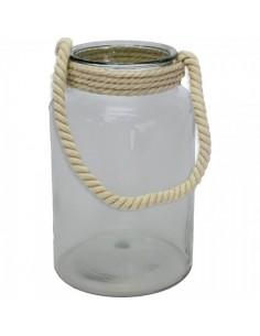 Tarro de cristal con asa de cuerda para escaparates en verano de tiendas o comercios