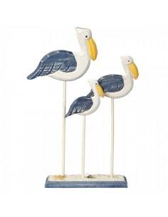 Pelícanos de madera de pie para la decorar espacios y escaparates de verano con mamíferos y aves