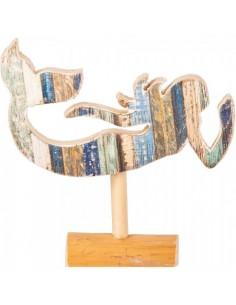 Figura de sirena de madera con base para escaparates en verano de tiendas o comercios