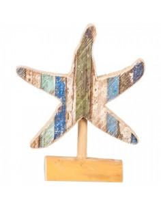 Figura de estrella de mar de madera con base para escaparates en verano de tiendas o comercios
