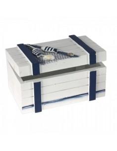 Caja de madera marítima decorativa vintage para escaparates en verano de tiendas o comercios