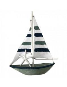 Velero de madera con estrella de mar para la decoración de escaparates marítimos en tiendas