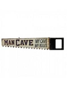Letrero indicador en forma de sierra diseño man cave para escaparates en verano de tiendas o comercios