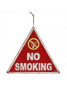 Letrero de prohibido fumar no smoking para escaparates en verano de tiendas o comercios
