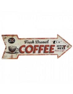 Letrero indicador de metal con texto coffee para escaparates en verano de tiendas o comercios