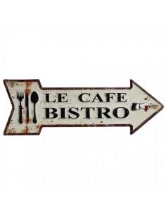 Letrero metálico indicador con texto le café bistro para escaparates en verano de tiendas o comercios