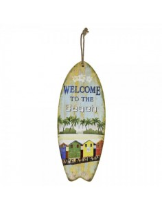 Tabla de surf con texto welcome to the  beach para escaparates en verano de tiendas o comercios