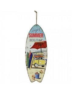 Tabla de surf con texto enjoy summer holiday para escaparates en verano de tiendas o comercios