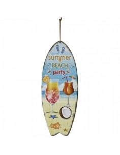 Tabla de surf con texto summer beach party para escaparates en verano de tiendas o comercios