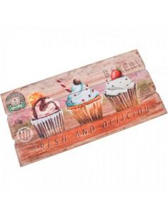 Cartel de madera con dibujo de cupcakes de helado para escaparates en verano de tiendas o comercios