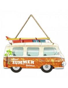 Furgoneta de playa retro summer holidays para escaparates en verano de tiendas o comercios