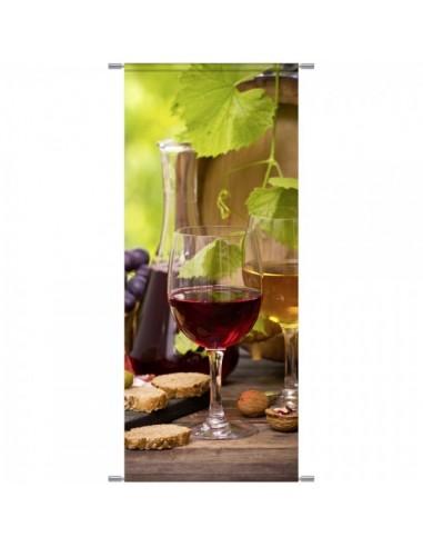 Banner-poster copa de vino en la vid para la decoración de la vendimia en licorerías catas bodegas de vino