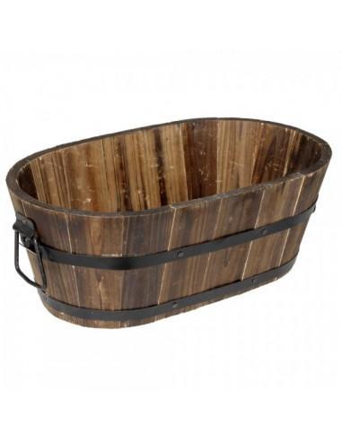 Cubo de madera ovalado retro para la decoración de la vendimia en licorerías catas bodegas de vino