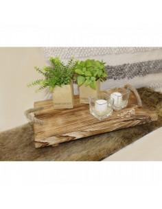 Bandeja de madera vintage con asas de cuerda para la decoración de la vendimia en licorerías catas bodegas de vino