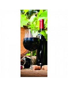 Banner-poster botella y copa de vino negro para la decoración de la vendimia en licorerías catas bodegas de vino