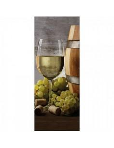Banner-poster copa de vino blanco y uvas para la decoración de la vendimia en licorerías catas bodegas de vino