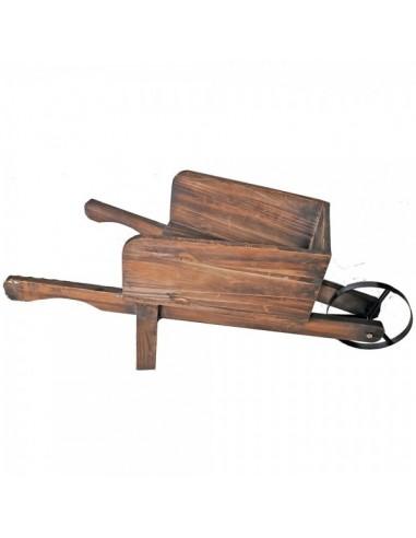 Carretilla de madera vintage para la decoración de la vendimia en licorerías catas bodegas de vino