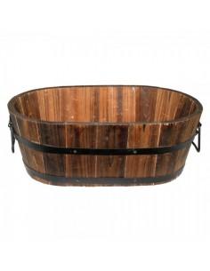 Cubo de madera ovalada vintage para la decoración de la vendimia en licorerías catas bodegas de vino