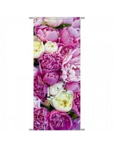 Banner-poster flores peonías para la decorar en primavera centros comerciales y escaparates