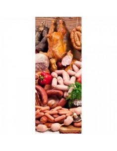 Banner-poster de embutidos y carnes Para la decoración de escaparates de tiendas