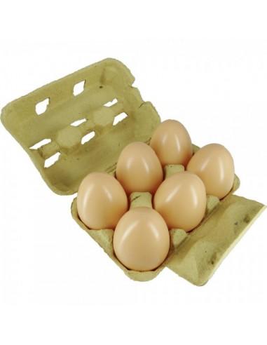 Imitación huevos marrones en huevera para queserías y charcuterías y escaparates de tiendas