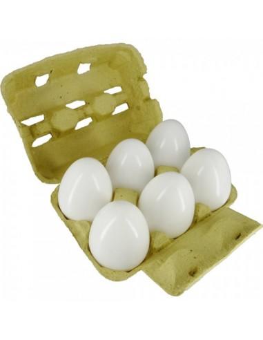 Imitación huevos blancos en huevera para queserías y charcuterías y escaparates de tiendas