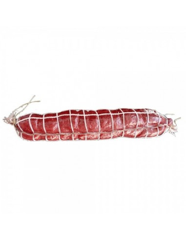 Imitación salami rojo con red para charcuterías y la decoración de escaparates de tiendas