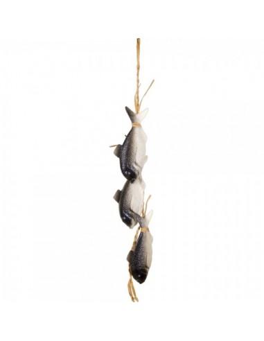 Imitación guirnalda de rafia con pescado para pescaderías y la decoración de escaparates de tiendas o comercios