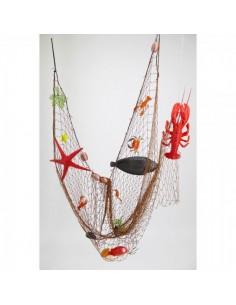 Imitación red de pesca con 13 especies marinas atrapadas para pescaderías y la decoración de escaparates de tiendas o comercios