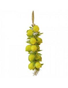Imitación trenza de limones con hojas y flor para fruterías y la decoración de escaparates de tiendas o comercios