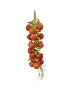 Imitación trenza de naranjas con hojas y flor para fruterías y la decoración de escaparates de tiendas o comercios