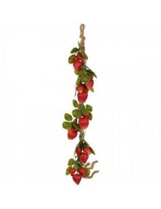 Imitación guirnalda de fresas en rafia para fruterías y la decoración de escaparates de tiendas o comercios