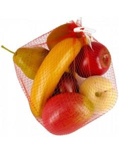 Imitación frutas variadas en bolsa de red para fruterías y la decoración de escaparates de tiendas o comercios