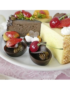 Imitación tartaletas de chocolate con frutas para panaderías pastelerías y escaparates de tiendas