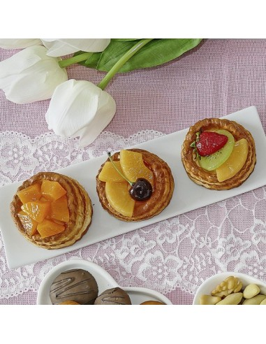 Imitación tartaletas de hojaldre con frutas para panaderías pastelerías y escaparates de tiendas