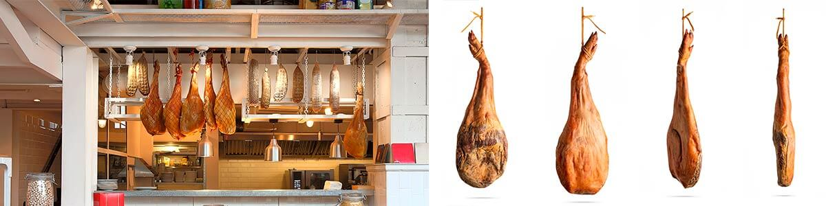 imitación de jamones ibéricos replica de jamón ibérico ficticio de jamón ibérico, jamones de plástico, jamón ibérico de exposición pata de jamón ibérico